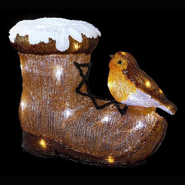 Acrylic Robin Boot Christmas Light