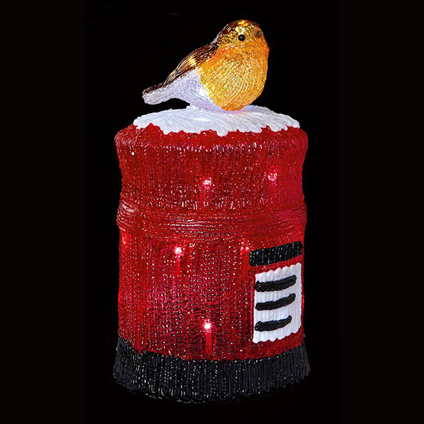Acrylic Robin Post Box Christmas Light
