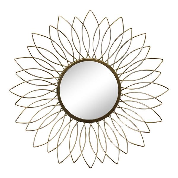 Gold Wire Flower Design Mirror