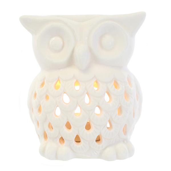 White Ceramic Owl Oil Burner