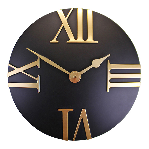 Black Gold Round Wall Clock