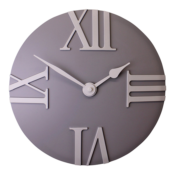 Matte Grey Round Wall Clock