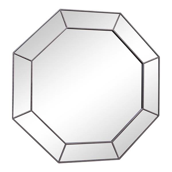Large Silver Hexagonal Mirror