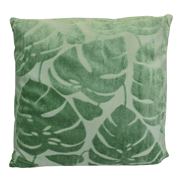 Green Embossed Leaf Square Cushion