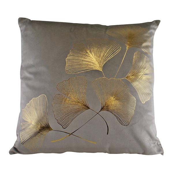 Gold Lotus Leaf Square Cushion